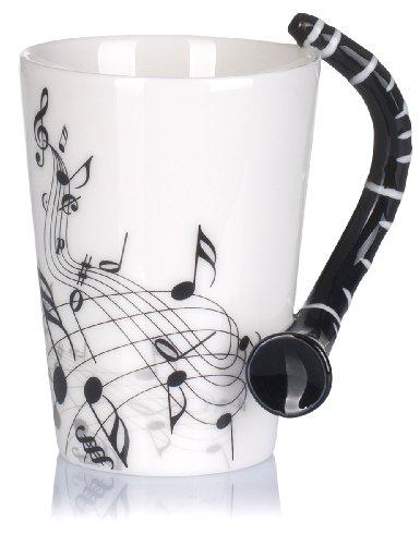 VENKON - Musik Keramiktasse mit Klarinette als Henkel und Noten Verzierung in hochwertiger Geschenkbox - 200ml