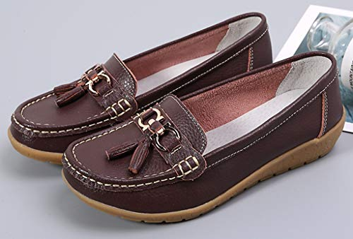 1 Women's Casual Moccasin Cowhide Driving Driving Flat Labato Loafers Leather Shoes Brown Ptdqdw