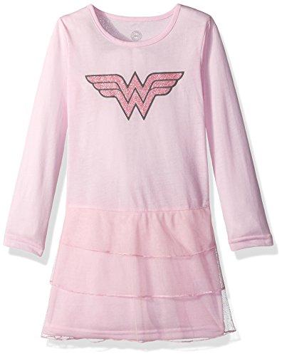 (Wonder Woman Big Girls' Wonder Woman 3 Tier Fantasy Costume Nightgown Pajama, Pink,)