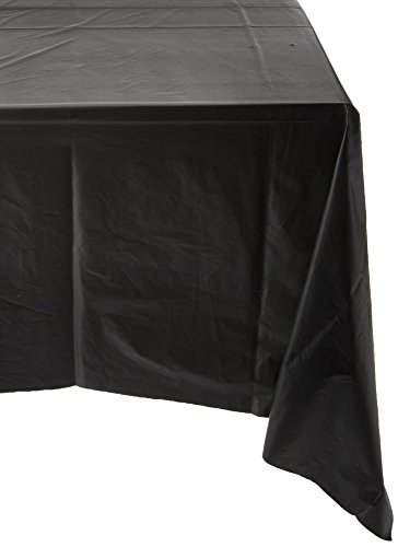 Royal 54 x 108 FOUR Plastic Table Cloth, Plastic Party Table Cover, Reusable Plastic Table Cloth, Disposable Rectangular table cover (BLACK)