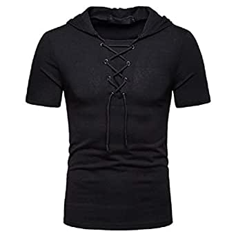 Mogogo Men's Hoodie Casual Slim Fit Short Sleeve Lace Up T-Shirts Solid Top Black L