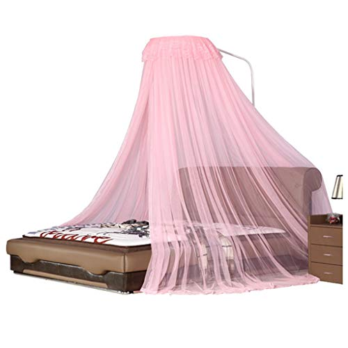 Bed Mosquito Net, Bedding Accessories Mosquito Nets Nordic Simplicity Soft Bed Solid Wood Bed Sofa Bed Floor to Ceiling Shutter Not Punched Not to Hit The Wall Single Door Easy to Use (Color : Pink) ()