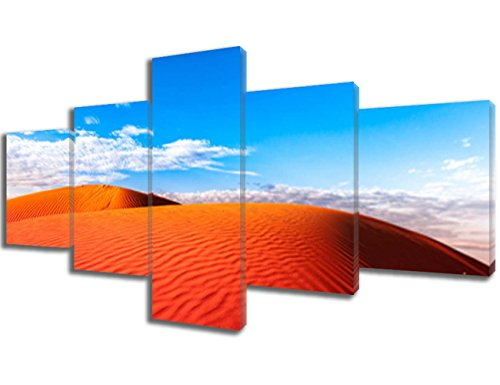 5 Piece Canvas Wall Art Red Outback Ripple Sand Dune Desert with Blue Sky Paintings Pictures Modern Artwork Home Decor for Living Room Giclee Framed Ready to Hang Posters and Prints(50''Wx24''H)