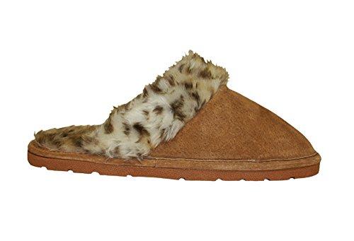 Lady's Fleece Scuff in Leopard