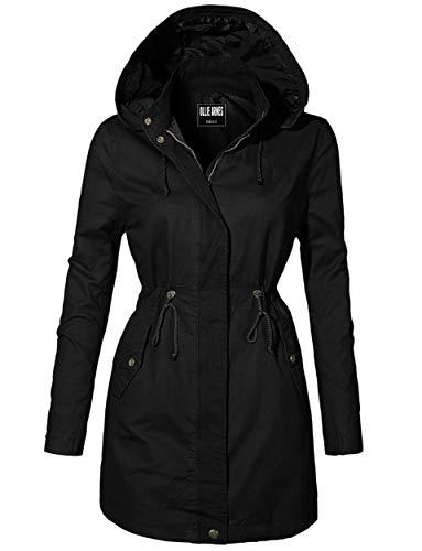 Parka Drawstring - OLLIE ARNES Women's Versatile Utilitarian Warm Anorak Drawstring Parka Jacket 934_ Black M