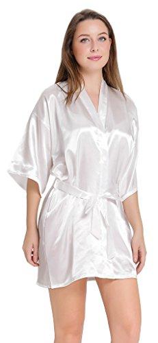 Aibrou Mujer Mañana Vestido Pijama,Corto Satén Albonoz Kimono Bata de Aspecto Brillante Blanco