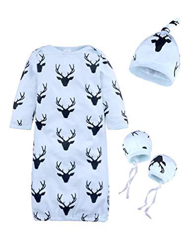 - Baby Receiving Blankets Reindeer Fawn Pattern Long-Sleeved Sleeping Bag Hat Gloves 3Pcs Wearable Blankets Set (70 (0-3M), Blue)
