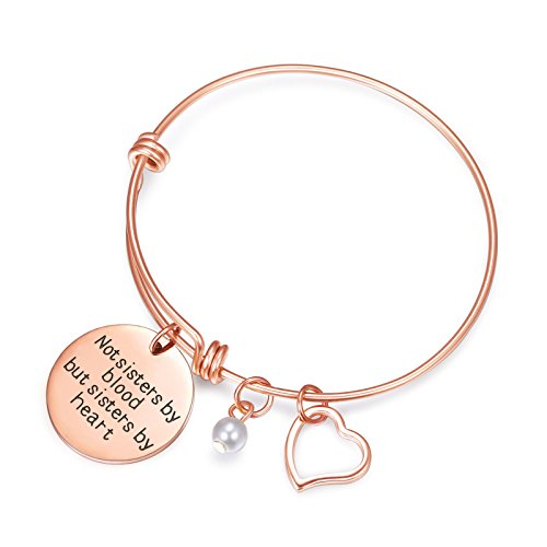 (Sunflower Jewellery Charm Bracelet Adjustable Bangle Gift for Women Girl Sister Mother Friends (Rose Gold Not Sisters by Blood But Sisters by Heart Bracelet) )