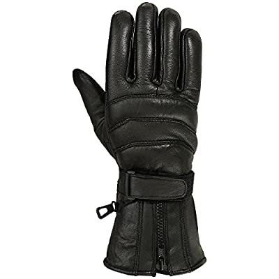 Mens Motorbike Gloves Cold Weather Motorcycle Riding Glove Genuine Leather Black: Clothing
