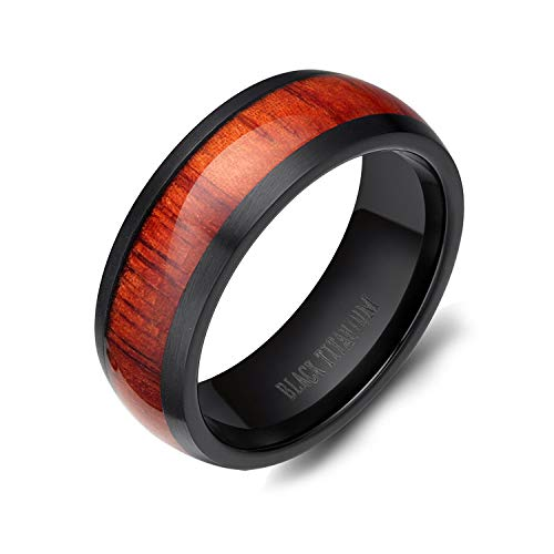 8mm Men's Women Black Titanium Ring with Real Wood Inlay Comfort Fit Wedding Band Size 5 - 14 (13.5)