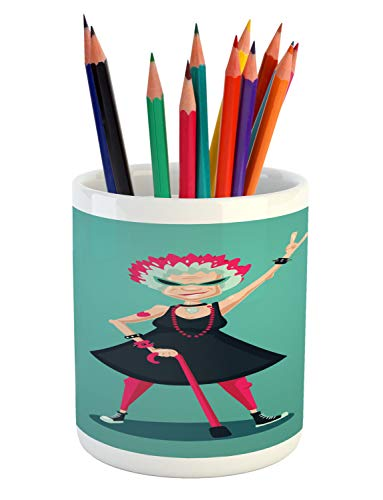 Ambesonne Retirement Party Pencil Pen Holder, Cartoon Charac