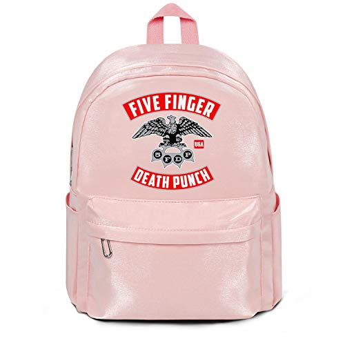 Womens Girl Boys College Bookbag Casual Nylon Water Resistant Travel Daypack Backpack Five-Finger-Death-Punch-5FDP-Logo- College Bookbag Pink