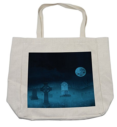 Lunarable Gothic Shopping Bag, Ghostly Graveyard Illustration Horror Halloween Dead Danger Theme Full Moon Bat Mystery, Eco-Friendly Reusable Bag for Groceries Beach Travel School & More, (Day Of The Dead Compared To Halloween)