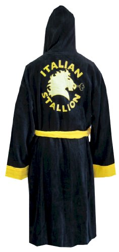 Rocky Balboa The Italian Stallion Hooded Black Terry Velour Robe for men (One Size)