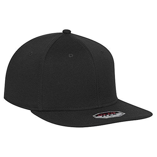 (OTTO Flex Wool Blend Twill Square Flat Visor 6 Panel Pro Style Baseball Cap - Black)