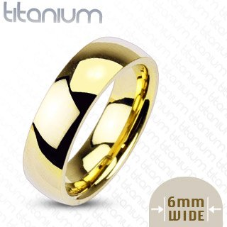 6mm Gold IP Titanium Plain Mirror Glassy Comfort Fit Wedding Band Ring; Comes With Free Gift Box (7)