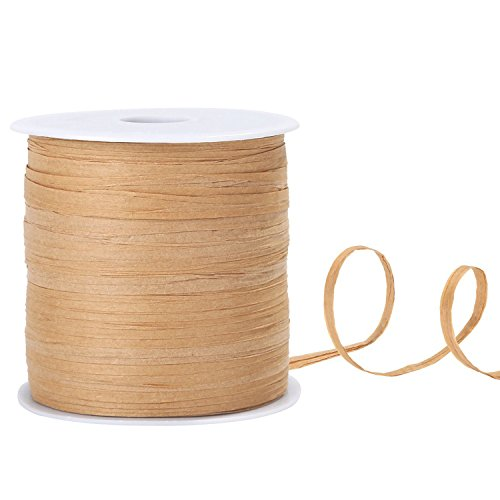 229 Yards Whaline Raffia Paper Ribbon Craft Packing Paper Twine for Festival Gifts, DIY Decoration and Weaving, 1/4 inch Width - Tan Raffia