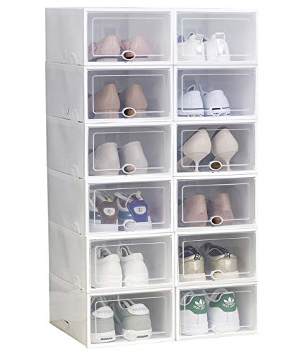 IRONLAND Storage Shoe Box White 12 Pack Clear Plastic Stackable White