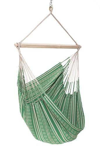 Colombian Hammock Chair - 44 inch - Natural Cotton Cloth (Green and (Brazilian Teak Natural)