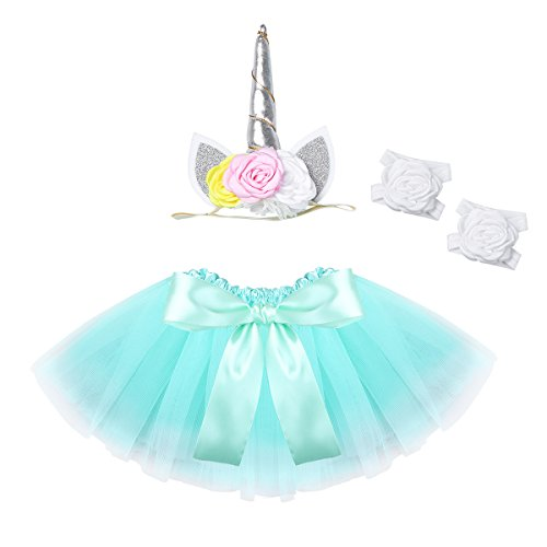 (iiniim Baby Girls Bowknot Tutu Skirt Dress with Headband Barefoot Sandals Photography Props Outfit Set Turquoise 0-12)