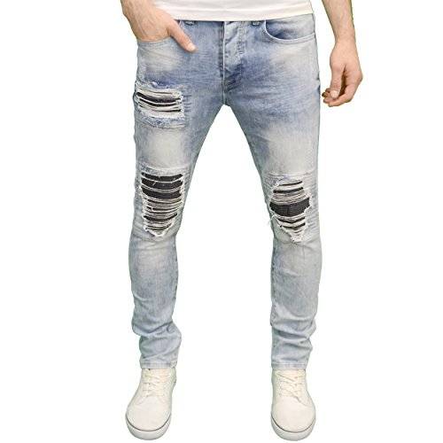 Eto Mens Designer Branded Shredded Ripped Slim Fit Distressed Jeans (28W x 32L, Lightwash)