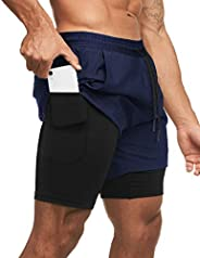 COOFANDY Men's 2 in 1 Workout Shorts Quick Dry Elasticity Gym Running Sh