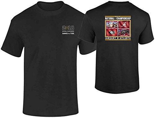 (Elite Fan Shop Georgia vs Alabama 2017 CFP National Championship Tshirt Black Flags - XXL)