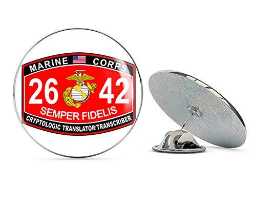 Veteran Pins Marine Corps Cryptologic Translator Transcriber MOS 2642 Steel Metal 0.75' Lapel Hat Shirt Pin Tie Tack Pinback