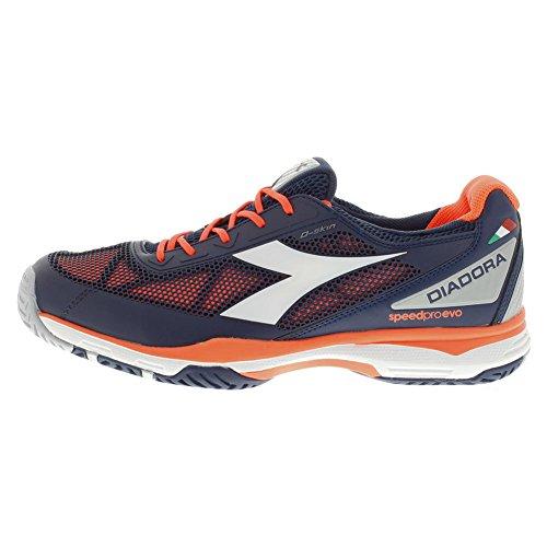 Diadora Men's S.Pro Evo AG Tennis Shoe-9 D(M) US-Blue Prugna/Flame Red