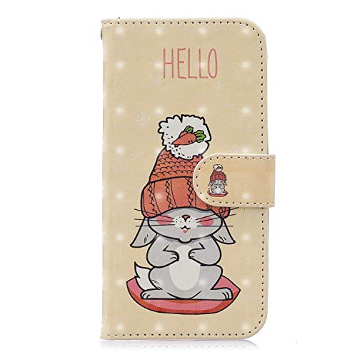 Yobby Wallet Case for iPhone XR,3D Cute Rabbit Carrot Pattern Premium PU Leather Flip Case for Girls Kids,Card Holder and Stand Magnetic Clasp Protective Cover