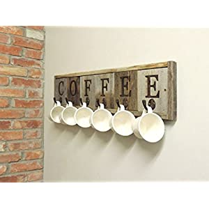 "Barnwood Coffee Mug Rack Wall-Mount Coffee Cup Holder 31.5"" X 7.25"""