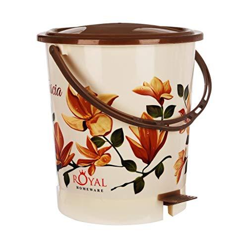 Fuscia™ Flower Design Plastic Dustbin 12L (Brown) Price & Reviews