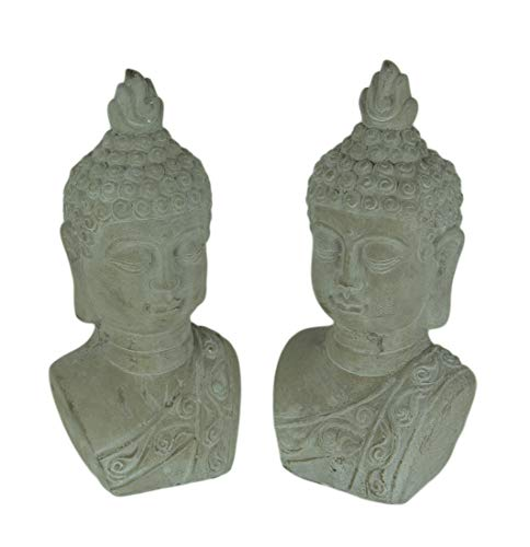 Three Hands Corp. Set of 2 Grey Stone Finish Cement Buddha Bust Bookend - Indian Bookends