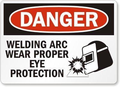 Stan256Nancy Letrero de seguridad de plástico OSHA, percha de leyenda: soldadura Arc Wear adecuada