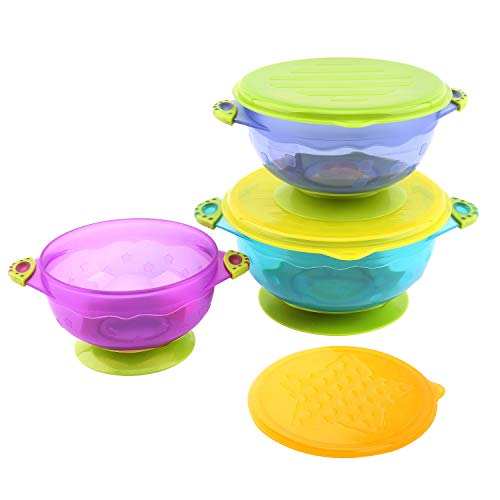 Zooawa Baby Bowls with Suction Base, 3-Pack Nonslip Spill Proof Feeding Training Bowl Dinnerware with Seal Easy Lid for Babies, BPA-Free, for Over 6 Months Infants, Colorful by Zooawa (Image #9)