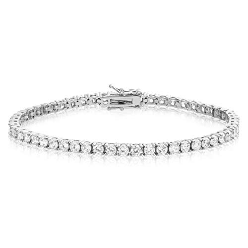 KEZEF Creations Simulated Diamond Tennis Bracelet Round Cut CZ 3mm Rhodium Plated Brass 6.5 inch
