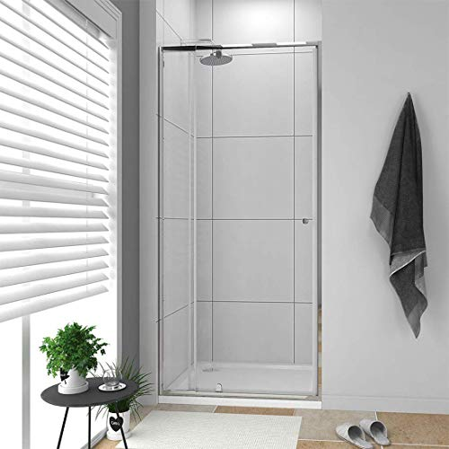 "ELEGANT SHOWERS 32-36"" X 72"" Semi-Frameless Pivot Swing Glass Shower Doors with Polish Chrome Finish"