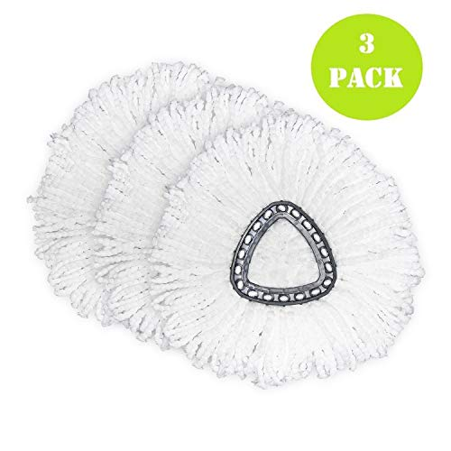 3 Pack Mop Replacement Heads for O- Ceda Spin Mop, Microfiber Spin Mop Refills, Easy Cleaning Mop Head Replacement