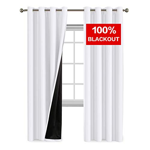 Window Curtain Black (Flamingo P 100% Blackout Curtain Set, Thermal Insulated Energy Efficiency Window Drapery, Lined Silky Performance, White Color, Grommet, Set of 2 Panels, 52 x 84)