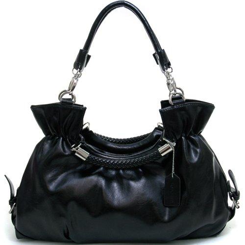 Belted Shopper Handbag (Dasein Women's Fashion Belted Convertible Shoulder Bag / Satchel -Black)