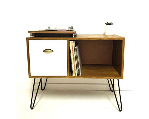Amazon.com: Vinyl Record Storage, Console Table, Mid Century ...