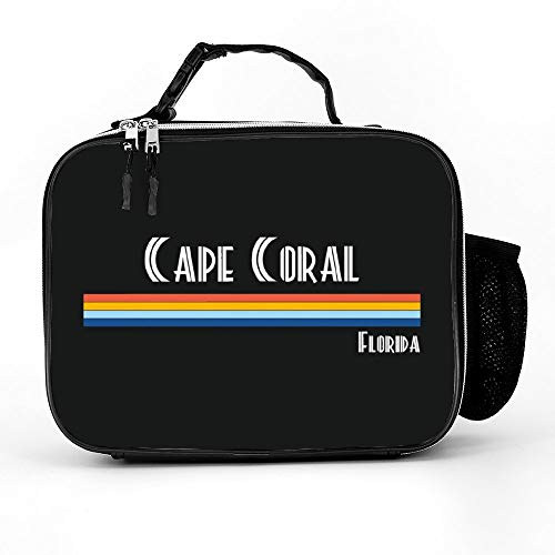 Welkoom Lunch Bag With Cape Coral Florida City Vintage Retro 70S 80S Souvenir Gi Meal Lunchbox|Durable Thermal Lunch Cooler Pack With Strap For Boys Men Women Girls