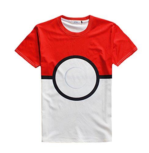 Pokemon-Go-camiseta-Unisex-Slim-Estampado-Manga-Corta-Cuello-Redondo-Camisas-de-pok-ball