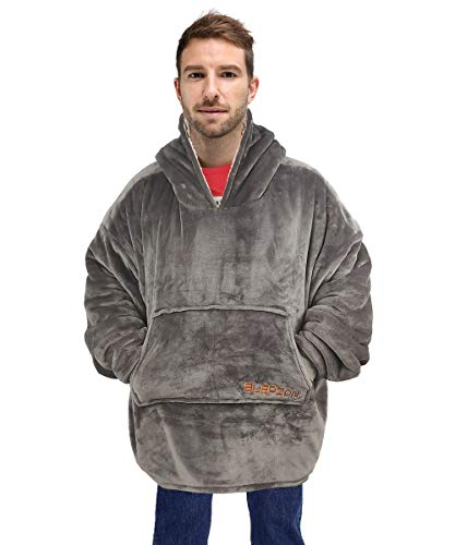 (SLEPZON Oversized Sweatshirt Blanket, Sherpa Hoodie Blanket for Adults Men and Women, Wearable Throw Blanket with Sleeves and Pockets, Grey)