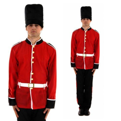 British Queen's Guard Costume (World OF Toys Men's Buzby Guard Queen Royal Guard British Palace Men: One Size Red)