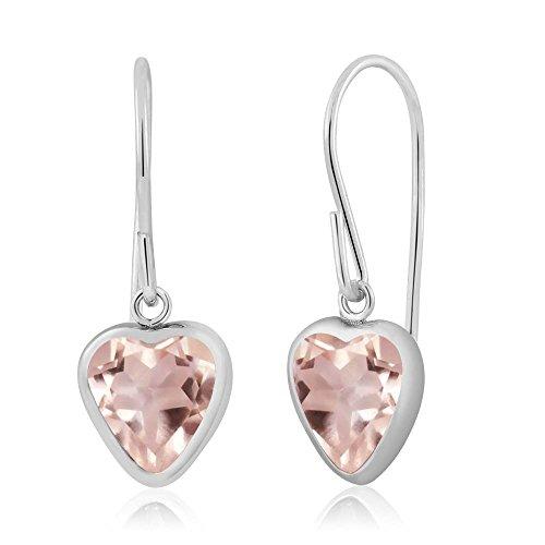 Gem Stone King 1.40 Ct Heart Shape Rose Rose Quartz 925 Sterling Silver Dangle Earrings