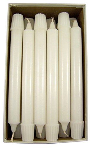- Cathedral Brand White Molded Stearine Candles Short 6's with Self-fitting Ends, 7/8 Inch x 8 Inch, Box of 36