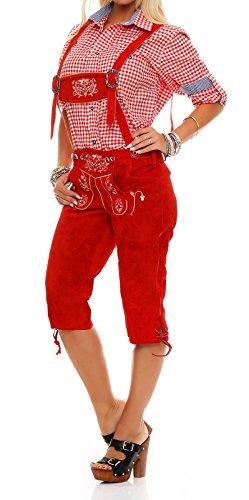 Meloo Trachtenhose Damen Knielang Lederhose Trachten Kniebund mit schönen und traditionellen Stickereien und abnehmbaren Hosenträgern (38, Rot)