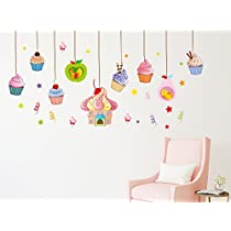 Solimo Wall Sticker for Living Room (Cupcake mania, ideal size on wall: 200 cm X 80 cm)