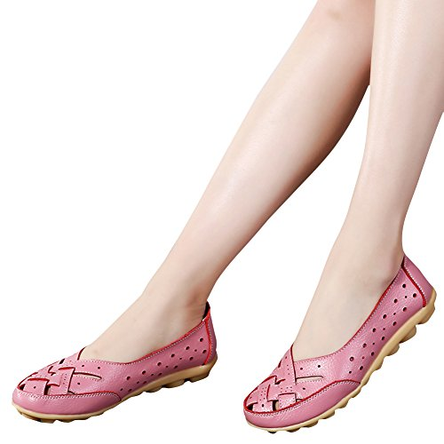 Blivener Kvinna Tillfälliga Loafers Ihåliga Platta Skor Kör Skor Rosa